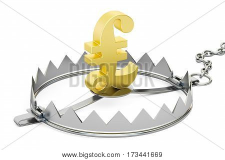 money trap with symbol of pound sterling 3D rendering isolated on white background