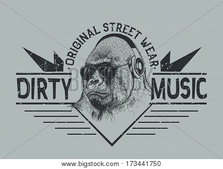 Music fan gorilla in headphones.Prints design for t-shirt.Street style label