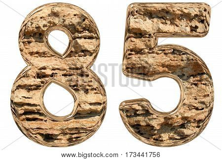 Numeral 85, Eighty Five, Isolated On White, Natural Limestone, 3D Illustration