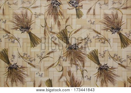 Woven bamboo texture with original wheat ears pattern