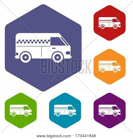 Minibus taxi icons set rhombus in different colors isolated on white background