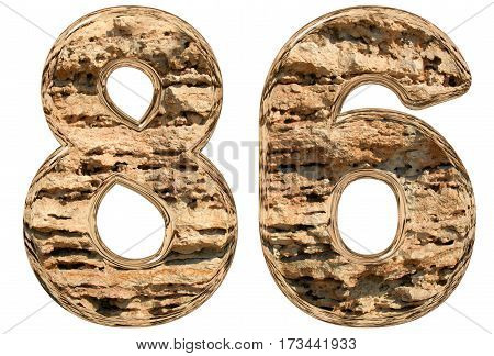 Numeral 86, Eighty Six, Isolated On White, Natural Limestone, 3D Illustration