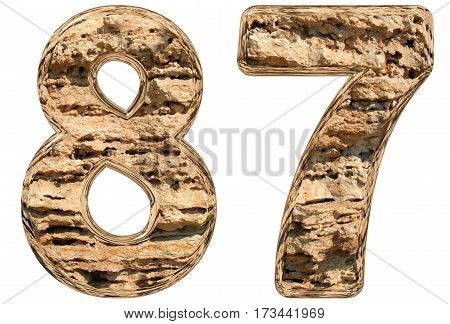 Numeral 87, Eighty Seven, Isolated On White, Natural Limestone, 3D Illustration