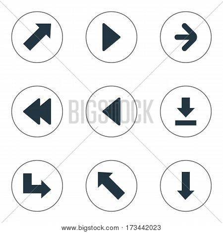 Set Of 9 Simple Arrows Icons. Can Be Found Such Elements As Let Down, Right Direction, Pointer And Other.