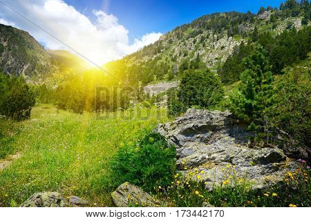 Bright sunrise in mountain valley in Andorra. Pyrenees.