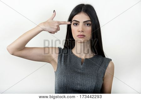 Business Woman Making Gun With Her Hand.
