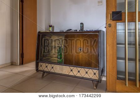 1960's Wooden side board for drinks or record player in excellent condition.