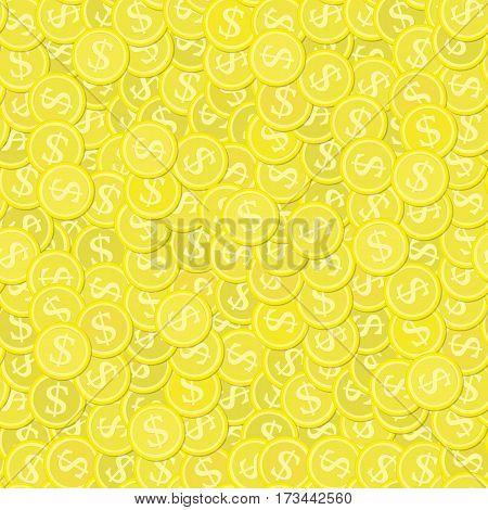 Seamless background with golden coins. Wealth business backdrop. Dollar finance success pattern. Modern flat design. Vector illustration. EPS 10.