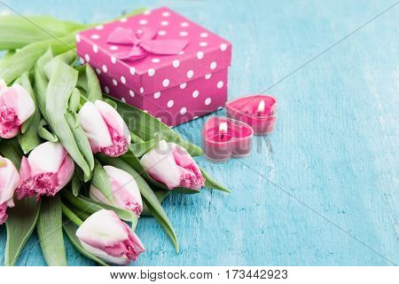 Bouquet Of Tulips And Gift Box On Turquoise Rustic Wooden Background With Copy Space For Message. Sp