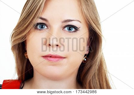 close up portrait of young plus size woman isolated on white in photostudio