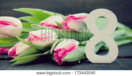 Bouquet Of Tulips On Dark Rustic Wooden Background. Spring Flowers. Greeting Card For Valentine's Da