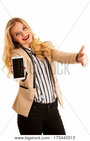 Business Woman Showing Smart Phone With Blank Display For Text Or Commercial Advertisement Ad