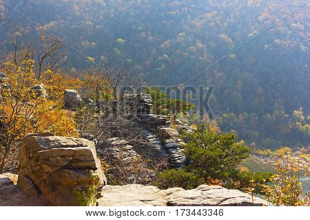 Scenic outlook at high point of Harpers Ferry National Park in West Virginia USA. Harpers Ferry park in autumn.