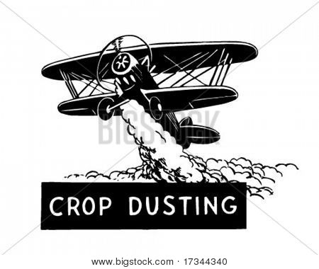 Crop Duster - Biplane - Retro Clip Art