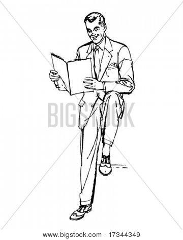 Business Man Reading - Retro Clip Art