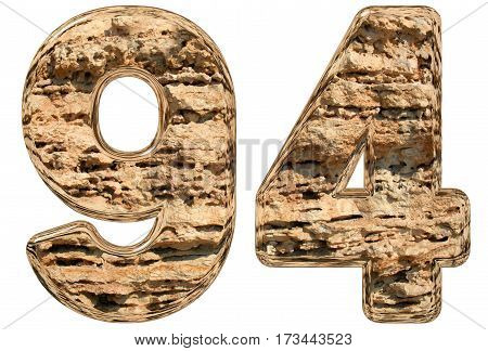 Numeral 94, Ninety Four, Isolated On White, Natural Limestone, 3D Illustration