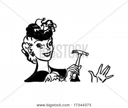 Handy Woman - Ms. Fixit - Retro Clip Art