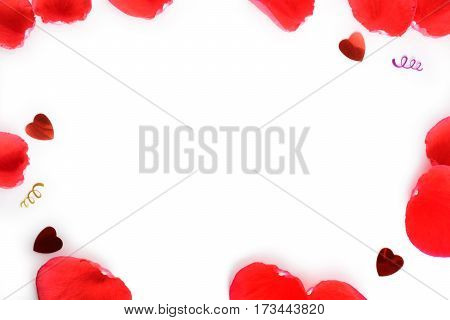 Beautiful rose petals on white background for Women's Day, 8 March