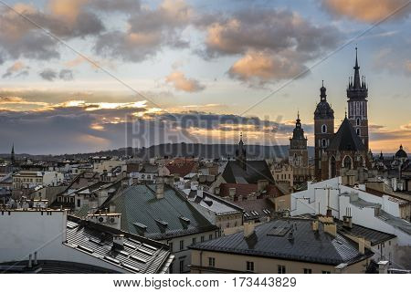 Dramatic sunset over historic town Krakow in Poland