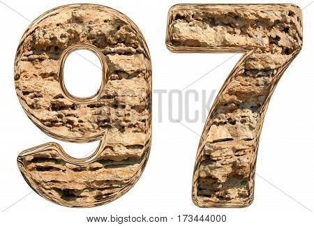 Numeral 97, Ninety Seven, Ninety, Isolated On White, Natural Limestone, 3D Illustration
