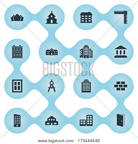 Set Of 16 Simple Structure Icons. Can Be Found Such Elements As Residence, Shelter, Popish And Other.