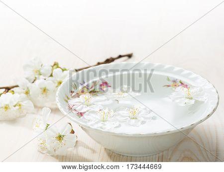 Floating flowers ( Cherry blossom) in white bowl.