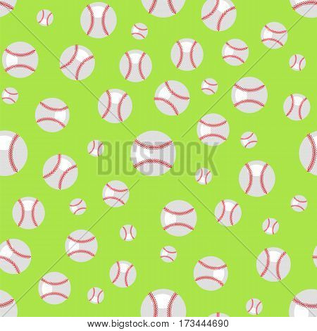 Baseball Seamless Pattern. Sport Background. Balls Isolated on Green Background.