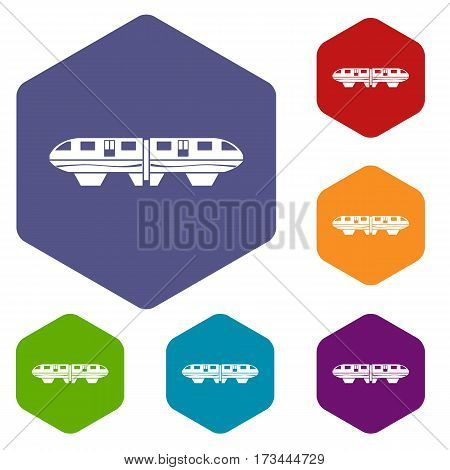 Monorail train icons set rhombus in different colors isolated on white background
