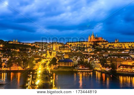 Overview of the Prague Castle in the early evening, view from the Old Town Bridge Tower