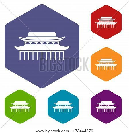 Buddha Toothe Relic Temple in Singapore icons set rhombus in different colors isolated on white background