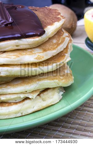 tasty pancakes with chocolate souce, copy space