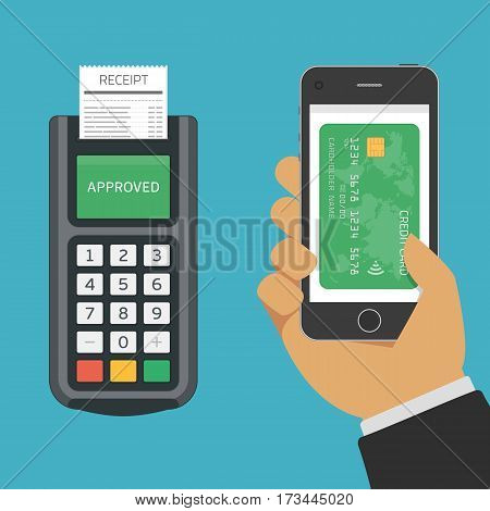 Pos terminal confirms the payment by smartphone. NFC or mobile payments concept. Near field communication technology, online banking. Vector illustration in modern flat style. EPS 10.