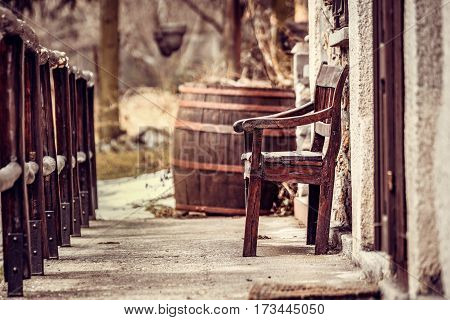 Village reception, barrels, old benches that radiate harmony