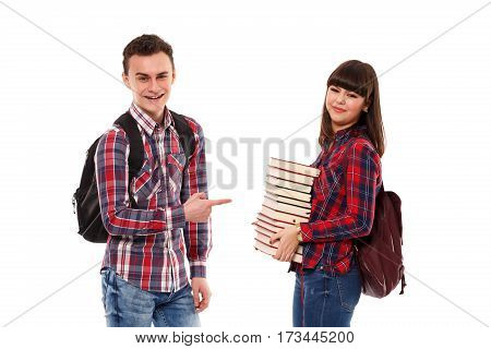 Teenagers With Backpacks And Books