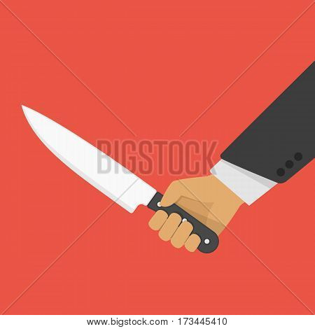 Hand holding a knife. Concept of aggression, violence or murder. Sharp dagger in the man hand. Vector illustration in flat style. EPS 10.