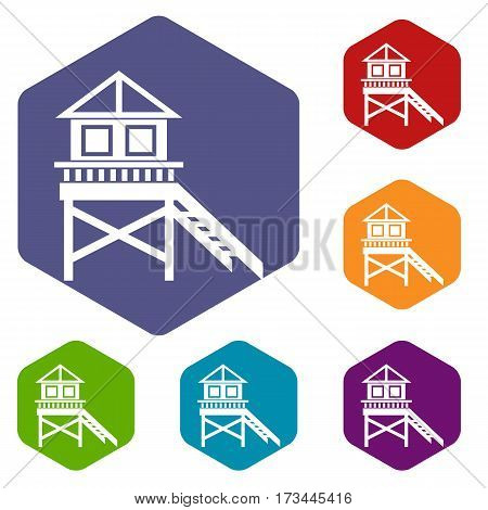 Wooden stilt house icons set rhombus in different colors isolated on white background