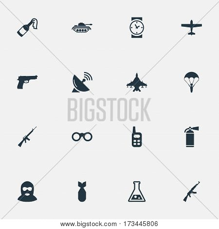 Set Of 16 Simple War Icons. Can Be Found Such Elements As Terrorist, Watch, Rifle Gun And Other.