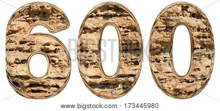 Numeral 600, Six Hundred, Isolated On White, Natural Limestone, 3D Illustration