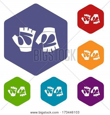 Cycling gloves icons set rhombus in different colors isolated on white background