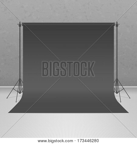 Background of empty photography studio. Backdrop stand tripods with black paper backdrop in realistic style. Mock up template. Photo-Studio concept. Vector illustration. EPS 10.