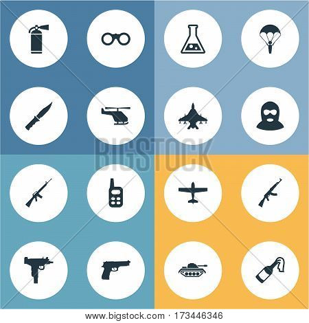 Set Of 16 Simple War Icons. Can Be Found Such Elements As Rifle Gun, Helicopter, Firearm And Other.