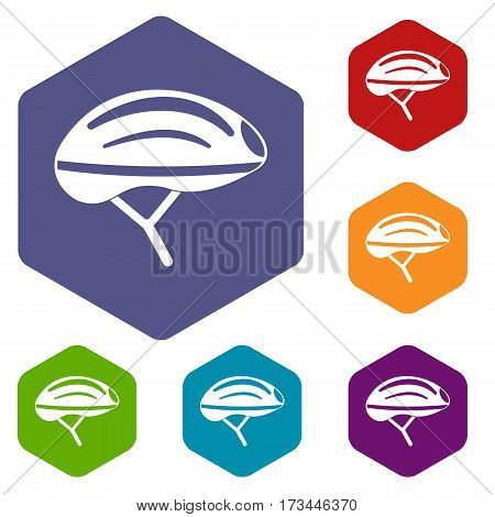 Bicycle helmet icons set rhombus in different colors isolated on white background
