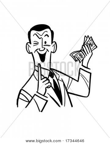 Man With Wad Of Cash - Retro Clip Art