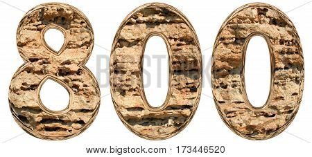 Numeral 800, Eight Hundred, Isolated On White, Natural Limestone, 3D Illustration