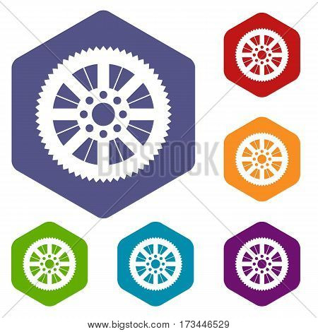 Sprocket from bike icons set rhombus in different colors isolated on white background