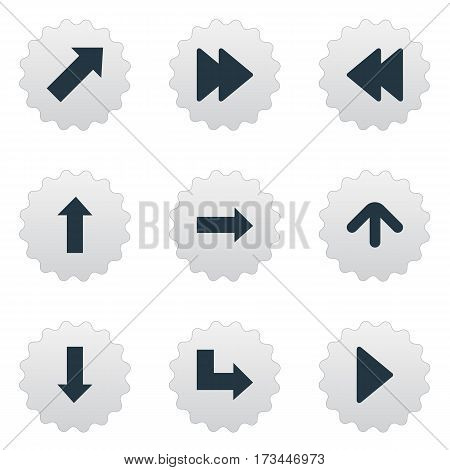 Set Of 9 Simple Pointer Icons. Can Be Found Such Elements As Upward Direction , Right Landmark, Downwards Pointing.