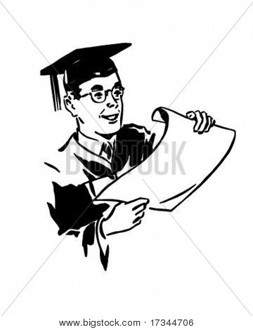 Male Grad With Diploma - Retro Clip Art