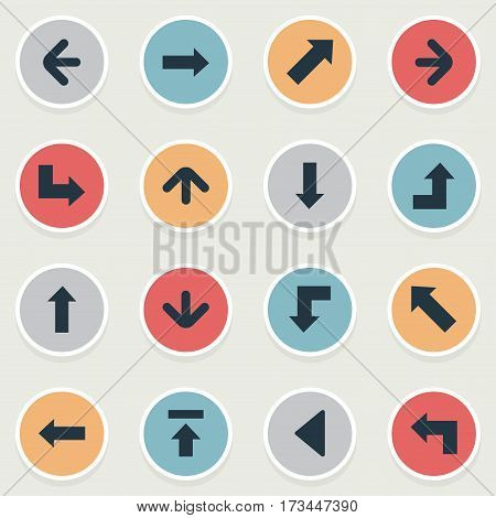 Set Of 16 Simple Arrows Icons. Can Be Found Such Elements As Left Direction, Downwards Pointing, Pointer And Other.