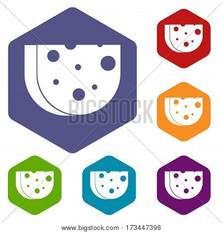 Piece of Swiss cheese icons set rhombus in different colors isolated on white background