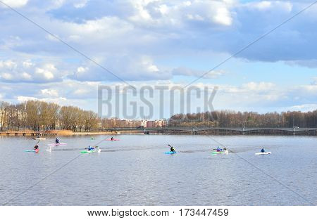 View Izhora River in center of Kolpino town at spring sunny day on the outskirts of St. Petersburg Russia.